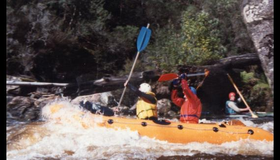 Rafting in white water Tasmanian wilderness